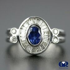 Cocktail Ring Right Hand Ring 14Kwg Natural 1.28 Ct Oval Sapphire & Diamond