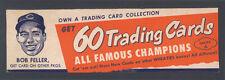 1952 WHEATIES BOX ADVERTISING PANEL AD ~ BOB FELLER ~ CLEVELAND INDIANS