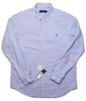 POLO RALPH LAUREN Long Sleeve Button Shirt Blue Gingham Checks Large L ~ New