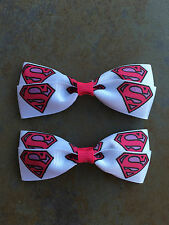 Pink Superman Supergirl Hair Bows with Alligator Clips