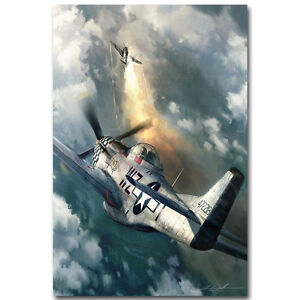 P 51 vs BF 109 Air Forces WW2 Military Art Silk Poster 13x20 24x36 inch