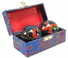 A Set Blue Chinese Baoding Phoenix Dragon Cloisonne Iron Ball Hand Stress Relief