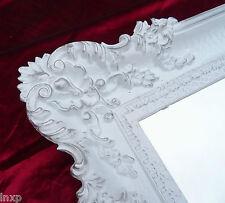 Miroir mural rectangulaire blanc argenté baroque Décoration Antique 96x57cm