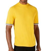 Alfani Men's Sweater Yellow Size Medium M Crewneck Striped-Sleeve $55 509