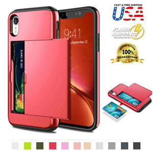 For iPhone 12 11 XR Wallet Case Card Holder Protection Shockproof Bumper Cover