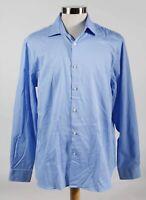 MICHAEL Michael Kors Blue Cotton Blend Slim Men's Dress Shirt L 16-16.5 34/35
