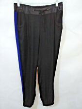 Paper + Tee Womens Large Black Blue Colorblock Jogger Pants Faux Leather Waist