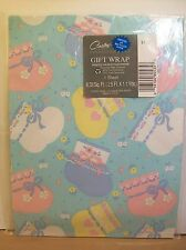 Carlton Cards Baby Gift Wrap Wrapping Paper New Shower Booties Socks Pink Blue