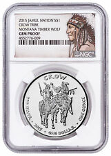 2015 Native Silver Dollar MT Crow Timber Wolf 1 oz Silver NGC Gem Proof SKU52740