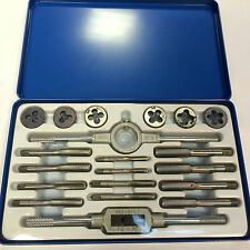 """GOOD QUALITY 20pc BSF ALLOY STEEL TAP AND DIE SET  IN METAL CASE 3/16"""" - 1/2"""""""