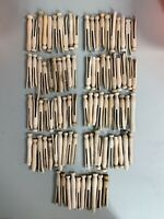 Vintage Lot 90 Clothes Pins Pegs Wood Wooden Round Laundry Room Old Craft PROP