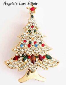 CHRISTMASY GOLD SPARKLY MULTI CRYSTAL XMAS CHRISTMAS TREE STAR BROOCH PIN BADGE