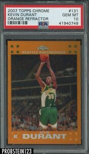 2007-08 Topps Chrome Orange Refractor #131 Kevin Durant RC Rookie /199 PSA 10