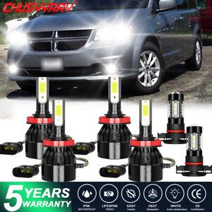 6x For Dodge Grand Caravan 2011-2018 2019 LED Headlight kit Bulbs High Low Fog