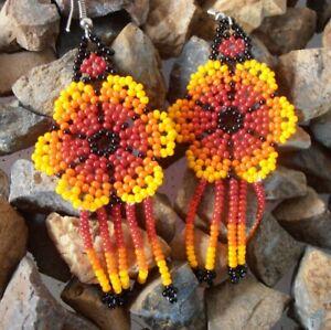 Mexican handmade earrings Crochet Beaded Flower with fringed drop hook Folk art