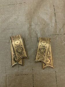 Vintage Gold Tone Metal Victorian Style Flower Dress Clips A Pair