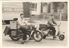 2/678 FOTO BRAUNSCHWEIG 1954 MOPED MOTORRAD TECHNIK WERBUNG MÖBEL KOFFER