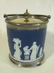 OLD WEDGWOOD ENGLAND BLUE JASPER BISCUIT JAR - CLASSICAL SCENES