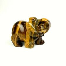 JOVIVI Natural Tiger Eye Carved Gemstones Elephant Crystal Figurine 2''