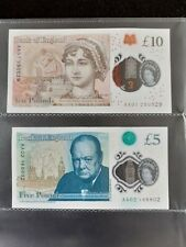 More details for british banking notes £5 & £10 aa01 rare circulated notes