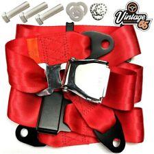 Classic Austin Mini Chrome Buckle 3 Point Adjustable Static Seat Belt Kit Red