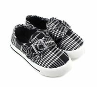 Black Plaid Kids Sneakers Youth Flats Hook-and-loop Slip-On Girls Shoes Size 3