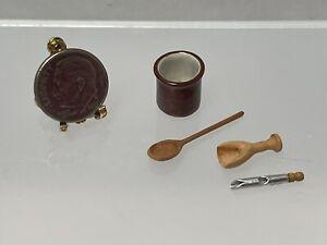 Vintage Artisan T Pottery Utensil Holder Wood Utensils Dollhouse Miniature 1:12