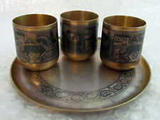 Vintage Ussr Soviet Art Deco Blackening & Silver Three Shot Glasses on Saucer