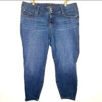 Torrid Jeans Women's Plus Size 24R Jegging High Rise Med Wash Triple Button