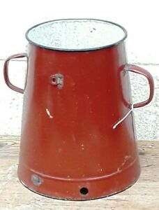 Vintage Enamel Metal Double-Handled Bowl Vase Hungarian Garden Patio Pot Planter