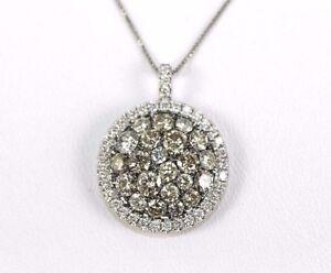 Fancy Color Diamond Round Cluster Lady's Necklace Pendant 14K White Gold 2.80Ct