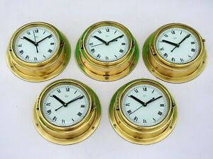 Set of 5 Maritime Brass World Clock Vintage Navigation Barigo Germany Ships
