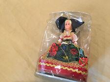 "Alsace Poupee'S Cybelle Depose 6"" Plastic Doll - Sleep Eyes - Red & Green Dress"
