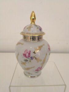Dresden China Pot Pourri Jar / Pot Floral Pale Blue Gilded