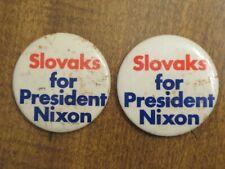 "1972 NIXON PINBACK POLITICAL BADGE....""SLOVAKS FOR NIXON"""