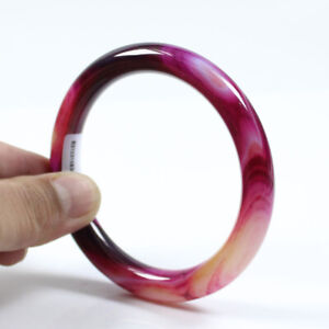 65mm Certified Natural Agate Chalcedony Purple Jade Bracelet Bangle a3367