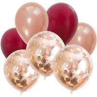 Rose Gold & Burgundy Confetti Balloon Bouquet-Party Decorations-Balloons