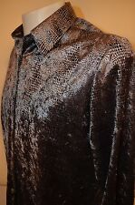 Snake Skin Fancy Shiny Party Goth Raver Rave Club Womens L Shirt Blouse VTG 90s