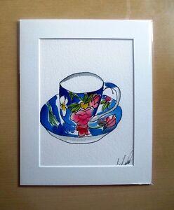 ORIGINAL ART - Vintage teacup watercolour with mat board