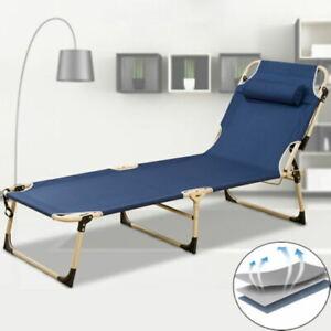 Folding Sun Lounger Chair Recliner Office Garden Bed Reclining Adjust Backrest