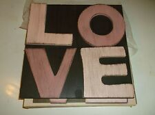 """NEW WOODEN LOVE SIGN FROM CRACKER BARREL 10"""" X 10"""" BROWN  PINKWOOD WALLHANGING"""