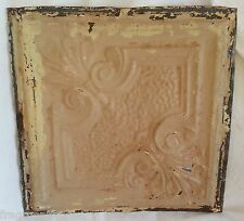 "12"" x 12"" Antique Tin Ceiling Tile *See Our Salvage Videos* Taupe Az21 Metal"
