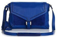 NWT $465 DVF DREW CONNECT BLUE LAPIS LEATHER SUEDE BAG CROSSBODY HARDWARE IPAD