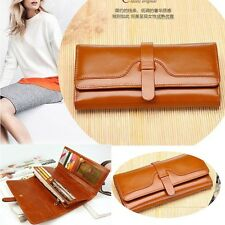 Womens Genuine Long Leather Trifold Bifold Money ID Wallet Clutch Purse Brown