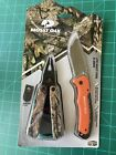 New Mossy Oak 2 Pack Multi Tool & Knife Set Stainless Steel Blade Holster Pouch