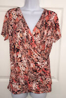 Calvin Klein Floral Animal Print Orange S/S Faux Wrap Stretch Top Shirt Sz M EUC