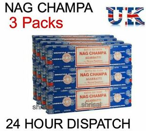 3 x Packs Original Satya Sai Baba Nag Champa Incense Sticks Joss Insence Genuine