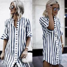 Fashion Women Horn Sleeve Striped Shirt Tops Loose Casual Mini Dress Long Blouse