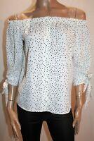 Valleygirl Brand White Black Off Shoulder Button Front Top Size 10 BNWT #RH75