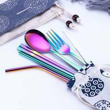 304 Stainless Steel Straw Knife And Fork Spoon Set Tableware Chopsticks Set US